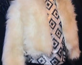 Sixties White Fun Funky Faux Shaggy Crop Fur Jacket That zips