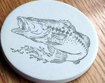 cup holder coaster, wine glass coaster - hand stamped bisque tile, absorbent --fish / bass
