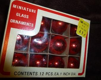 Miniature Vintage Red Glass Ornaments in Original Box