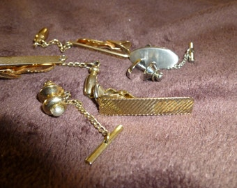 Tie Clips and Tacks Vintage 1970s Assorted Lot of 6