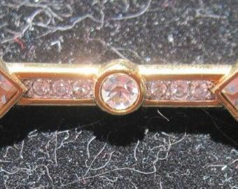 Vintage Swarovski Crystal Gold Bar Brooch Pin by Saavy REDUCED