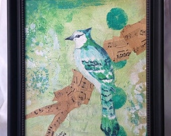 BlueGreen Jay Framed Mixed Media Painting on Canvas Board