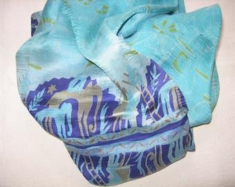 Aqua Reclaimed Sari Infinity Scarf