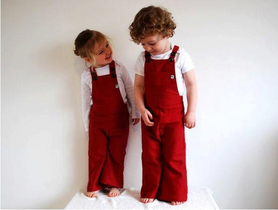 Red overalls dungarees flared childrens vintage style organic cotton denim retro unisex rainbow bright overall toddler child baby clothing