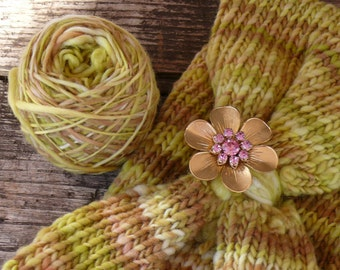 Farm Fresh!  Handpainted Handspun Knitted Cowl Collar with Vintage Jewelry!