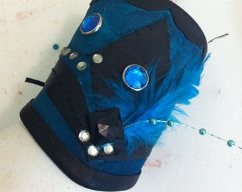 Teal Blue leather cuff