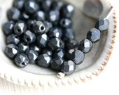 4mm faceted beads - Matte Hematit Black - czech glass beads, fire polished spacers, round beads - 50Pc - 1663