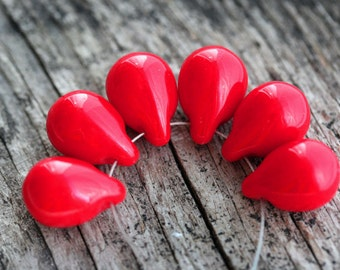 Red Teardrop beads, briolettes - Opaque Red, czech glass drops - 10x14mm - 6Pc - 1601