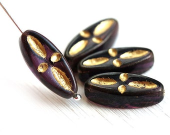Purple glass beads, Golden inlays, czech pressed beads, long oval beads - 20mm - 4Pc - 0656