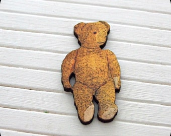 Teddy Bear Brooch .. wooden brooch, teddy bear brooch, cuddly toy, teddy accessories, wooden image brooch