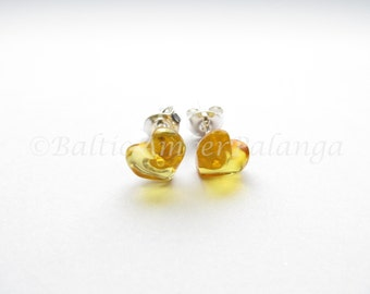 Baltic Amber Honey Color Heart Shape Silver Stud Earrings