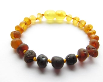 Baltic Amber Baby Teething Bracelet/Anklet, Raw Unpolished Rainbow Color Beads