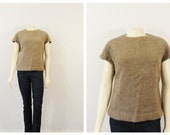 Vintage Shirt 50s 60s Taupe Textured Cap Sleeves Back Metal Zipper Modern Size Medium