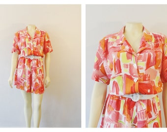 Vintage Dress 80s Shortened Mini Shirtwaist Vintage Dress Coral Red Pink Yellow Abstract Print Belted Size Medium to Large