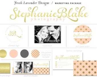 10 Piece Custom Branding Package Premade Logo with Watermark Shabby Chic Metallic Gold Polka Dots Business Card / Logo / Watermark