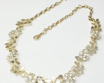 Signed Coro Vintage Rhinestone Floral Flower Mid Century Retro Hollywood Glamour 1950's Costume Jewelry Necklace Gift For Her on Etsy