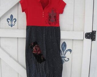 Rustic dress, red black rose theme, black red dress, artsy rustic, Cross theme dress XS-S