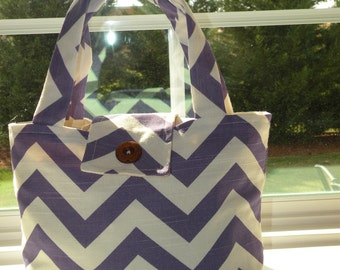 SMALL Tote Bag Purse Bible Bag Book Pet Bag Grab and Go Delightful Duck Cloth For Her Gift Idea Teen Tween Under 30 Choice of Color Chevron
