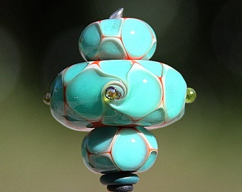 Aqua Twist Set of Three Handmade Lampworked Glass Beads OOAK Donuts Aqua White Pumpkin Blue Lampwork