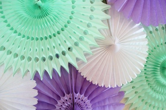 Tissue Paper Fans baby shower birthday party decor wedding