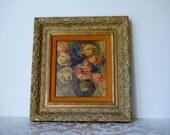Vintage Print Renoir Vase of Roses in Carved Gold Gilt Wood Frame Floral Picture On Sale!