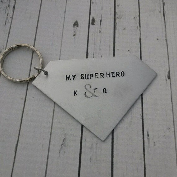 Superman Keychain Personalized - Superhero Keychain - Hand Stamped Keychain - My Superhero - Diamond Keychain - Valentine's Day