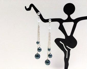 Black Pearl Triple Stranded Dangle Earrings - FREE SHIPPING