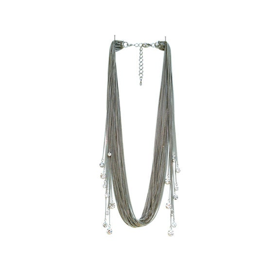 Rhinestone Sway Necklace - White Gold