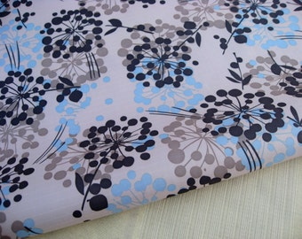 "3208A  - 1 yard Vinyl Waterproof Fabric - Flowers on light grey - 57""x36"""