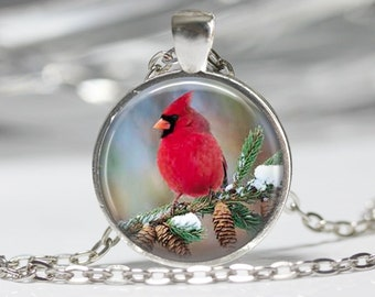 Cardinal Bird Pendant Glass Pendant Necklace Cardinal Jewelry Cardinal Pendant
