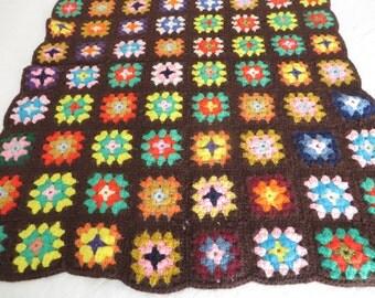 Vintage Brown Granny Square Lap Afghan - Handmade Granny Square Afghan