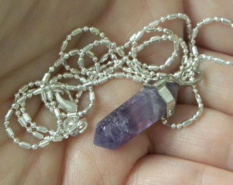 "Amethyst Pendant Amethyst Necklace Handmade Natural Purple Semiprecious Gemstone Fine 24"" Silver Plated Chain Take 20% Off Amethyst Jewelry"