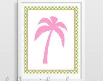 Preppy Lime Gingham Pink Palm Tree Print | Nautical Nursery | Dorm Decor | Cubicle Decor | Digital Download