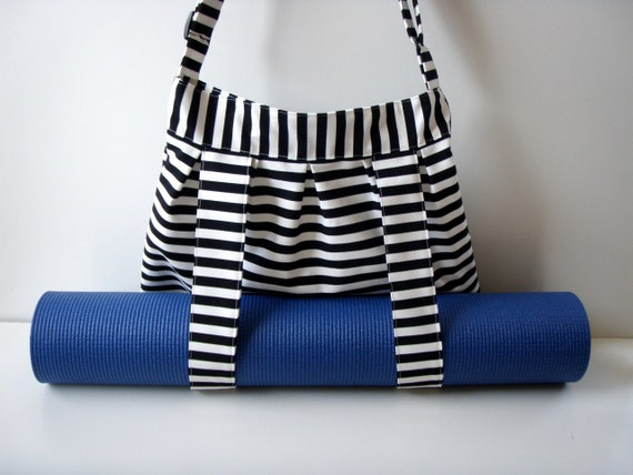 Yoga Mat Bag Black White Stripes Handmade Babimini Bag By