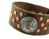 Orgone Energy Bracelet - Chocolate Brown Leather Cuff Bracelet - Turquoise Gemstone - Unisex Bracelet - Artisan Jewelry