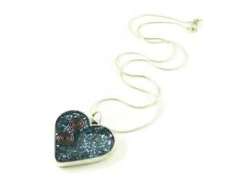 Orgone Energy Pendant - Blue Heart with Lapis Lazuli Gemstone - Positive Energy Generator - Artisan Jewelry