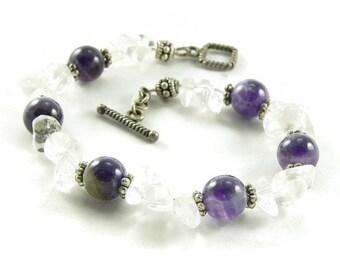 Crown Chakra Crystals Chunky Bracelet - Amethyst - Quartz Crystal - Balance and Healing - Artisan Jewelry
