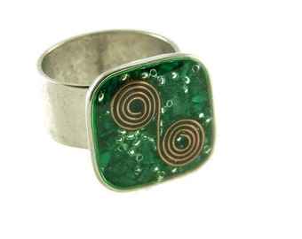 Orgone Energy Ring with Malachite - Medium Square Cocktail Ring - Adjustable Ring - Orgone Energy Jewelry - Artisan Jewelry