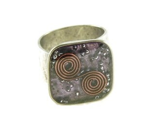 Orgone Energy Ring with Purple Amethyst - Medium Square Cocktail Ring - Adjustable Ring - Orgone Energy Jewelry - Artisan Jewelry