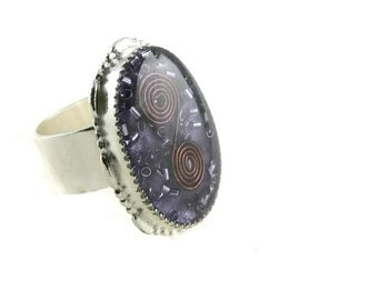 Orgone Energy Ring with Purple Amethyst - Statement Ring - Cocktail Ring - Adjustable Ring - Orgone Energy Jewelry - Artisan Jewelry