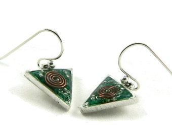 Orgone Energy Dangle Earrings - Small Triangle Drops in Antique Silver with Malachite - Orgone Energy Jewelry - Artisan Jewelry