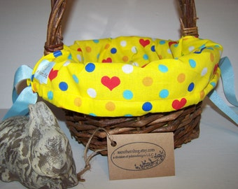 Personalized Basket Liner Yellow Dots Hearts
