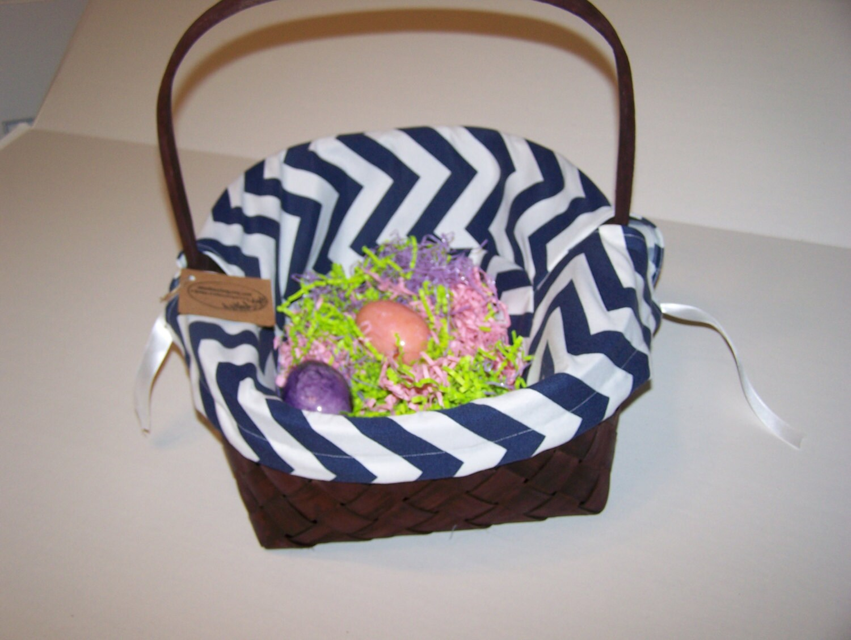 Personalized Basket Liner Navy White Chevron