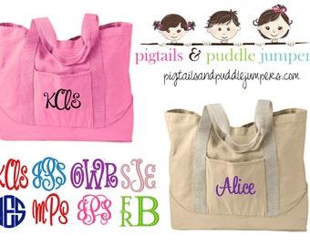 Monogram Tote Bag - Personalized Canvas Tote Bag