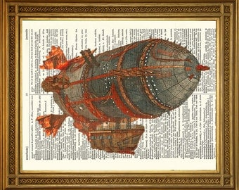 """STEAMPUNK FLYING AIRSHIP: Original Antique Dictionary Page Vintage Art Print (8 x 10"""")"""