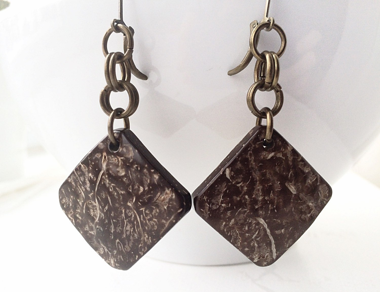 coconut jewelry coconut earrings dangle by 2bebeadedbysana