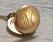 Antique W & H Co Gold Filled Locket 1800's Engraved Initials RVC Monogram Locket Delicate Gold Plated Chain