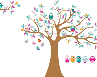 Tree with tree branch vinyl decal for nursery-Vinyl tree decal-tree branch decal-- Owl tree decal-5 Free owls