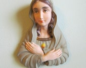 Sacred Heart Madonna Wall Hanging // religious art // altar