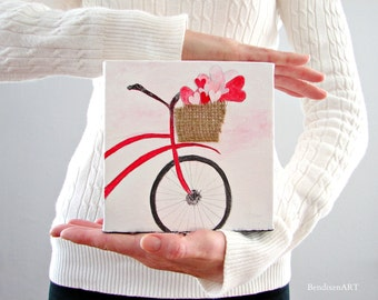Mixed Media Home Decor, Nursery Art, Baby's Room Art, Bicycle Theme Basket of Hearts, Daughter Birthday, Wife Anniversary Gift